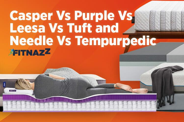 Casper Vs Purple Vs Leesa Vs Tuft and Needle Vs Tempurpedic Key Feature Image